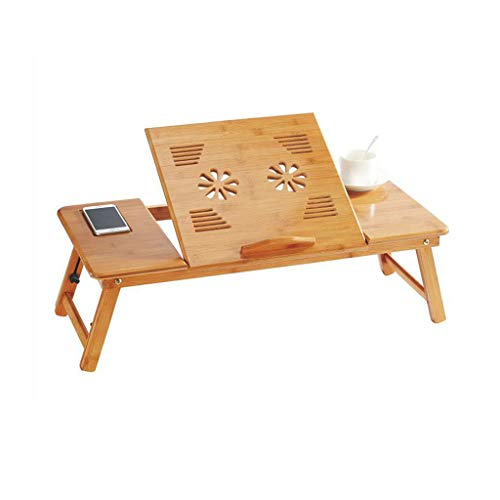 GSHWJS Bamboo Laptop Bed Table Desk Adjustable Height and Angle Folding with Fan & Drawer table (Size : Without fan)