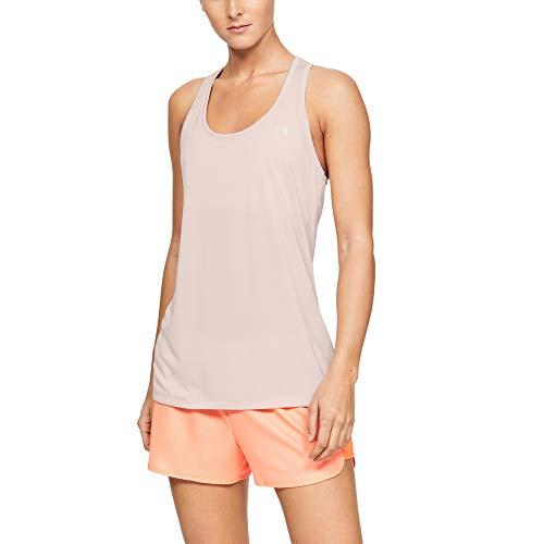 Under Armour Tech Twist Camiseta sin Mangas para Mujer, Tech Twist Tank, Mujer, Color Apex Pink (675)/Metálico Plata, tamaño Medium