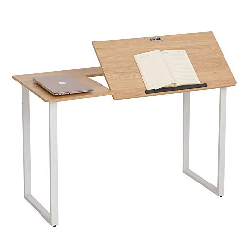 HOMCOM Mesa de Escritorio Mesa para Computadora Portátil Amplio Espacio con Tablero Ajustable en Ángulo Barra Adicional 120x55x76 cm Color Madera Blanco