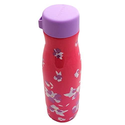 Tupperware Thermos Fashion Flask 410 ml in metallo rosa con fiori To go bottiglia isolante