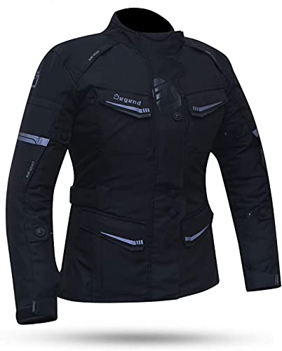 DEGEND TRAVEL LADY Negra   Chaqueta Moto Mujer con Protecciones - Chaqueta Impermeable Transpirable y Cortavientos - Ropa de Motociclista Chaqueta Motera Mujer Color Negro - Tallas (XS-XXL)
