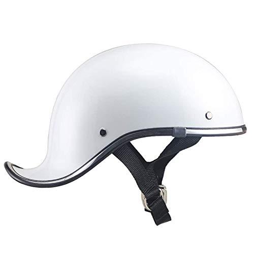 Casco de motocicleta abierto, gorra de béisbol antigua, casco de protección de seguridad de medio casco de motocicleta, casco anticolisión de ciclomotor ATV chopper monopatín (negro brillante, blanc