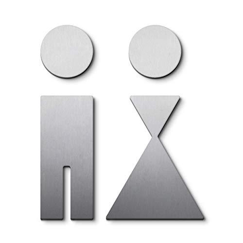 PHOS Design, P0101, WC-Symbole mit Design-Award, 11 cm Höhe, Damen Herren Toiletten Türschild, Edelstahl matt, zum Kleben ohne zu Bohren, auf 1 oder 2 Türen montierbar, Piktogramme immer gut sichtbar