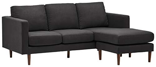 """Rivet Revolve Modern Upholstered Sofa with Reversible Sectional Chaise, 80""""W, Storm Grey"""