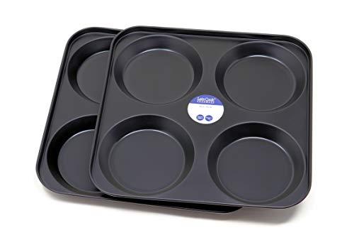 4 Cup Yorkshire Pudding Tray Twin Pack, British Made with PFOA & BPA Free Non Stick by Lets Cook Cookware