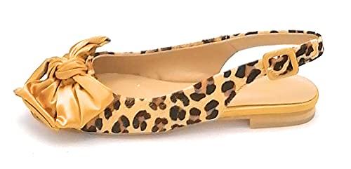 Alma en Pena V21220 Ballerina offen hinten Pferd Leopard Schleife U-Band - Schuhgröße 40 EU Farbe Leopard