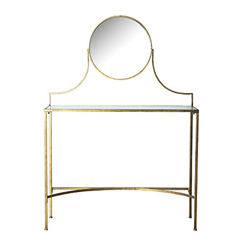 Lastdeco Escritorio Mesa Tocador. Consola Recibidor Vintage. Incluye Espejo. Color Dorado. Estilo Art Decó. Modelo Alles. 98 x 32 x 138 cm