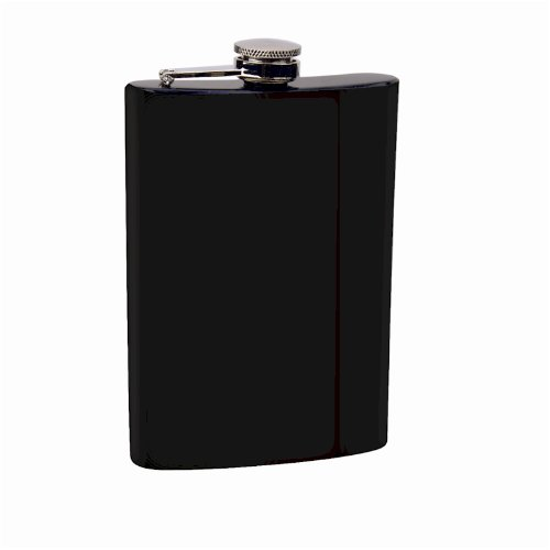 Top Shelf Flasks Stainless Steel Hip Flask Assorted Colors, 8oz, Black