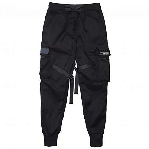 Multi Pockets Straps Knöchelgebundene Cargohose Schwarze Hip Hop Cargohose Herren Streetwear Mode Kordelzug Lange Hose Kleidung-Schwarz_2XL