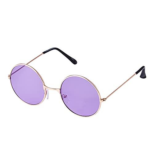 UltraByEasyPeasyStore Ultra Goldrahmen mit Violette Linsen Klassische John Lennon Sonnenbrille Groß Stil Runde Sonnenbrille Damen Herren mit UV400 Schutz Männer Frauen Unisex Retro Sonnenbrille