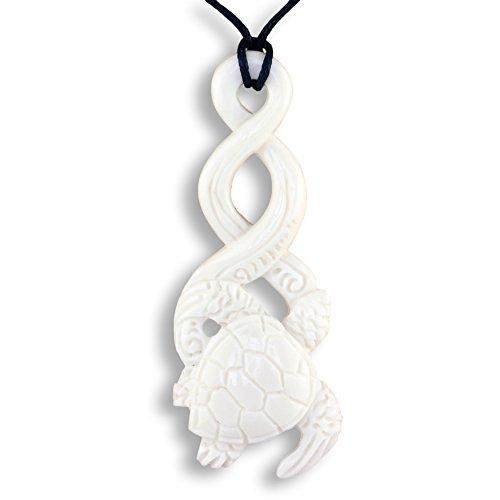 ISLAND PIERCINGS Halskette Anhänger Maori Twist Schildkröte aus Knochen PB380