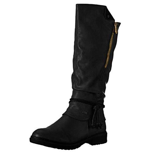 Schneestiefel Damen Tall Stiefel Frauen Lange Stiefel Doppelseitiger Reißverschluss Schuhe High-Tube Winterstiefel (38,Schwarz)