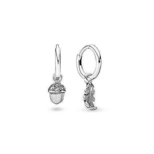 Asimétrico Hoja de roble Hojas caídas S925 Pendientes de plata Pendientes de plata esterlina Pendientes Regalo de San Valentín para novia
