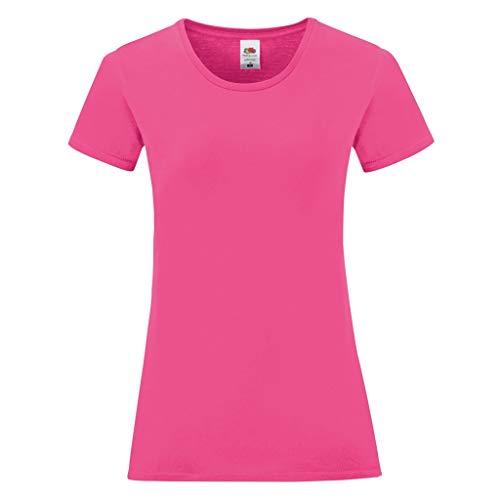 Fruit of the Loom - Camiseta Icónica para Mujer señora (L) (Rosa Fucsia)