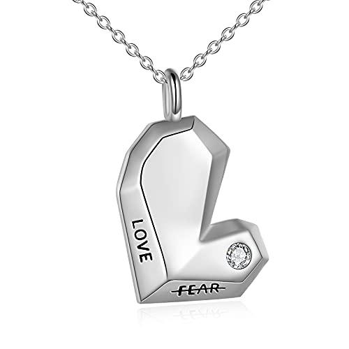 YFN Collar con forma de corazón de origami de plata de ley con colgante 'Love No Fear' para aniversario, regalo de cumpleaños para mujeres y niñas y amantes de la esposa