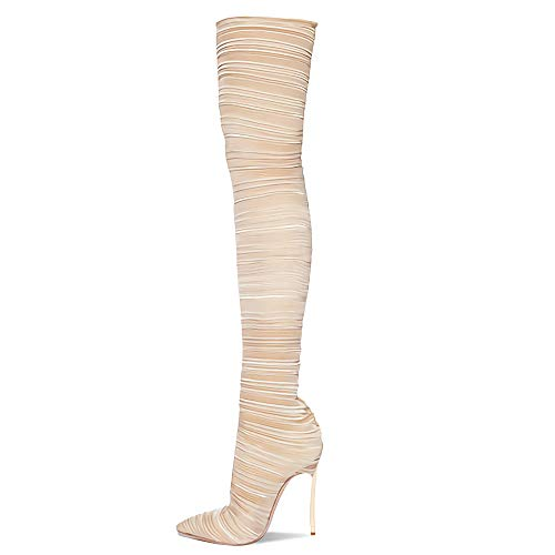 LPZzzA Sexy Stretch apilado pliegues cuero sobre la rodilla botas para mujer, moda tacón de aguja de metal punta puntiaguda muslo botas altas para mujeres-albaricoque || 42