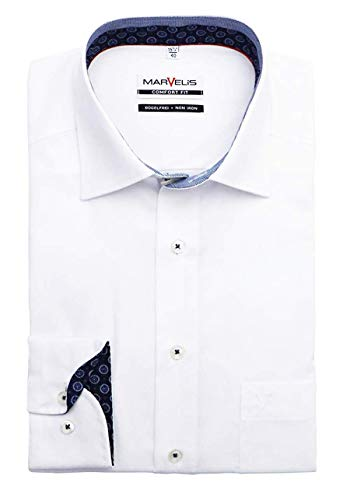 Marvelis Comfort Fit Hemd Langarm New Kent Kragen weiß Größe 42