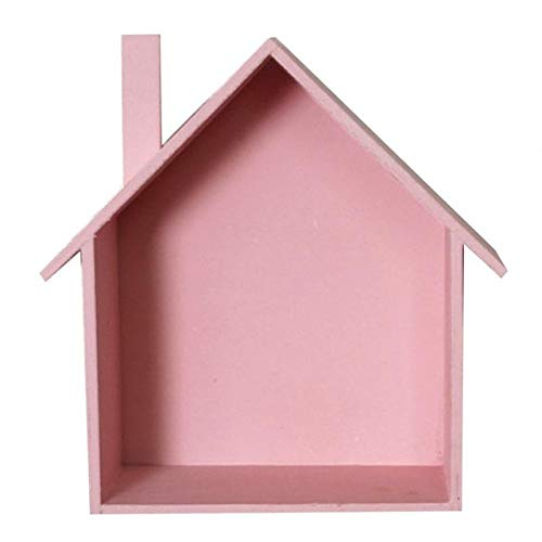 N/A QAQZZ wanddecoratie van hout retro kleurrijke planken in de vorm van een huis plank van hout slaapkamer voor kinderen wanddecoratie plank wandplank
