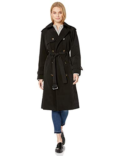 LONDON FOG Women's Double-Breasted 3/4 Length Belted Trench Coat, Black, M