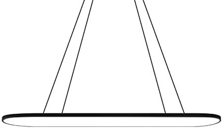 LED Pendelleuchte Dimmbar mit Fernbedienung Hngeleuchte Pendel Leuchte Beleuchtung Modern Kronleuchter Hngelampe für Wohnzimmer Esszimmer Esstisch Büro Eisen Acryl Lampe 64W , Schwarz