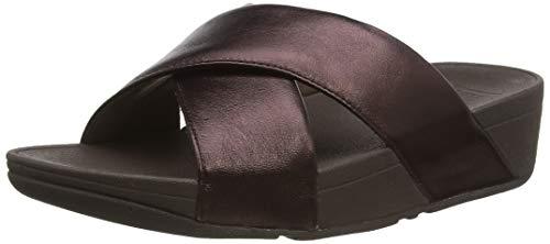 Fitflop Women's lulu Cross Slide Leather Sandalen, Braun (Chocolate Metallic 806), 39 EU