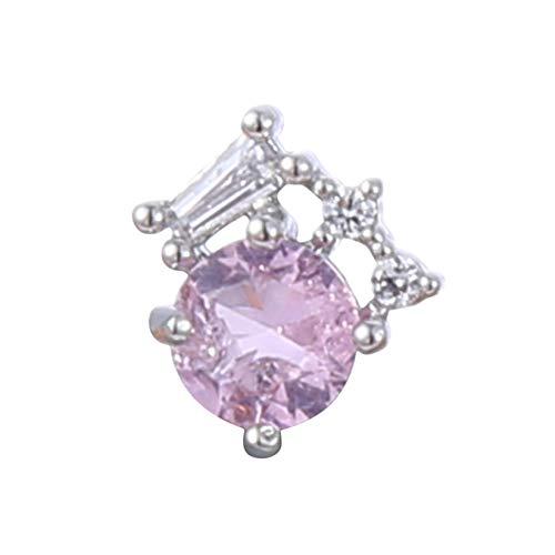 SJHFG Mini pendientes de cristal con forma de flor simple en forma de oreja de hueso, accesorios de joyería de cumpleaños para mujeres, plata 2