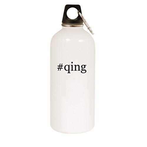 #qing - 20oz Hashtag Stainless Steel White Water Bottle with Carabiner, White