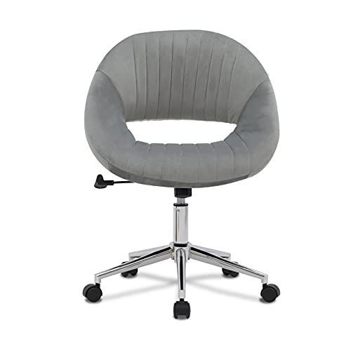 Swivel Vanity Chairs Home Office Chairs Velvet Accent Chair Mid Back Ergonomic Computer Desk Task Seat Vanity Stool Makeup Chair for Bedroom Living Room Height Adjustable