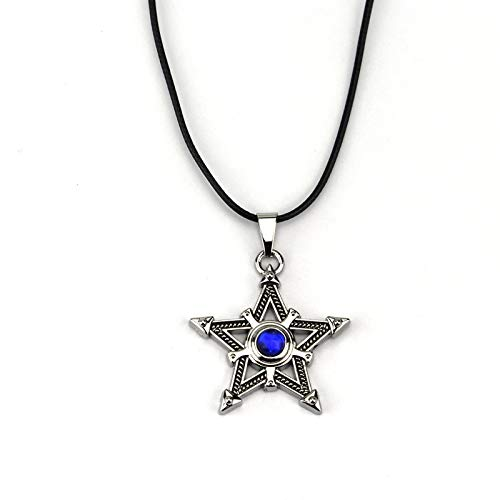 MINTUAN lassic Hombres chapados en Plata Antigua Collar de Cinco Puntas Colgante de Estrella Pentagrama pentáculo Cristal Azul Collar de Roca Negra