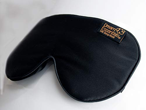 Dream Essentials Ultra Silk 360 Sleep Mask, Black, All Natural Hypoallergenic Mulberry Silk, 2 Fully Adjustable Straps, Thin Profile mask Great for Side, Stomach or Back Sleepers