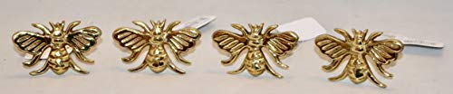 Design Imports Honey Bee Table Linens Gold Bee Brass Napkin Rings, Set...