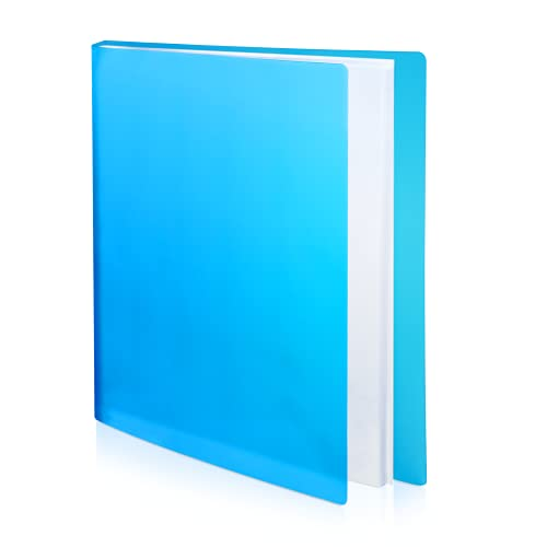 CRANBURY Binder with Plastic Sleeves Blue - (1 Pack) Vibrant Translucent Poly Cover 24 Pocket Presentation Book, Displays 48 Letter Size 8.5x11 Pages, Portfolio Book, Includes Labels