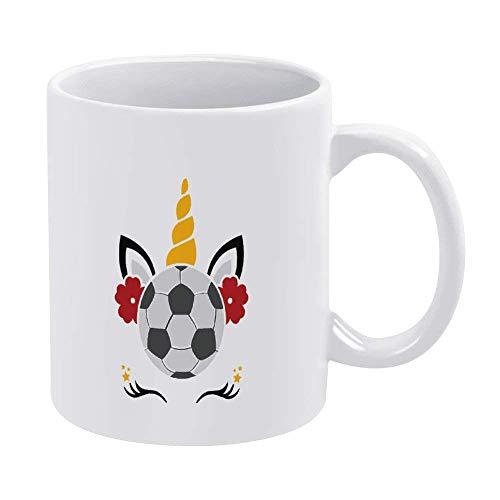 N\A Unicornio Taza de café Divertida fútbol Blanco Novedad Taza de té de cerámica Taza de Oficina Navidad cumpleaños Regalo de inauguración de la casa para Hombres Mujeres