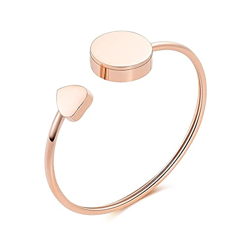 TIANZXS Cremation Jewelry Bracelet for Ashes - Stainless Steel Heart Cuff Urn Bangles for Ashes Memorial Keepsake Jewelry Rose Gold