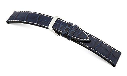 RIOS1931 Louisiana - Correa para reloj (piel de ternero, aspecto piel de cocodrilo, costura de contraste, pasador de 19 mm), color azul marino