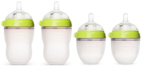 Comotomo - Baby Bottles - Baby Feeding - Green - 4 Pack - Two 5 Ounce Bottles and Two 8 Ounce Bottles