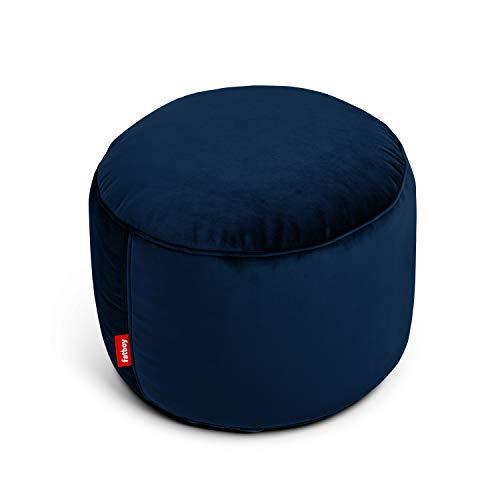 Fatboy Point Velvet Indoor Bean Bag Pouf, Ottoman, and Footstool - Dark Blue