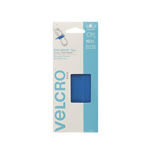 "VELCRO Brand ONE-WRAP Bundling Strap � Reusable Fasteners for Keeping Cords and Cables Tidy - 5"" x 1/4"", 10 Ties, Blue"
