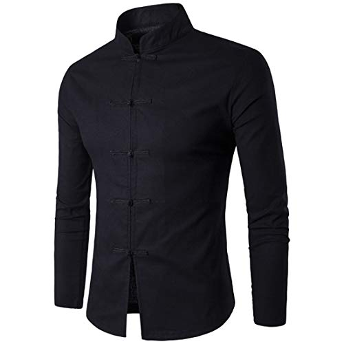 Shirt Herren Tops Herrenmode Casual Buttoned Chinese Style Retro Herren Hemd Herbst Neues Bequemes Langarm Slim Minimalist Business Casual Herren Hemd B-Black XXL