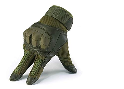 CRUSEA Leather Gloves Tactical Military Shooting Cut Resistant Waterproof Winter (L)
