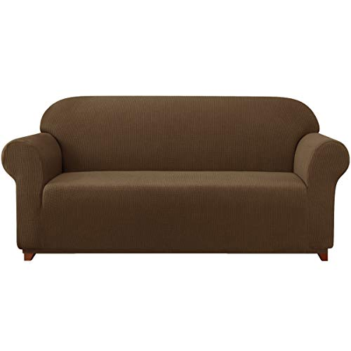 Subrtex Sofa Cover 1-Piece Stretch Couch Slipcover Soft Couch Cover Loveseat Slipcover Armchair Cover Furniture Protector Machine Washable(X-Large, Coffee) -  SBTSF3007