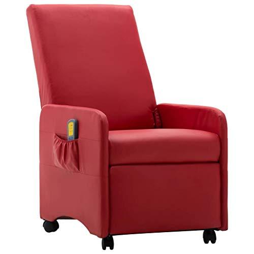 Irfora Massagesessel mit Rollen Fernsehsessel Relaxsessel mit Wärmefunktion TV Sessel Liegesessel Relaxliege Elektrisch Ruhesessel Massage Chair, Rot Kunstleder