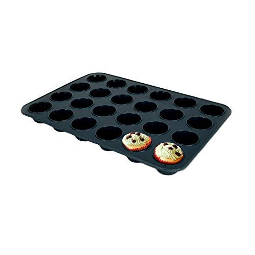 SUPER KITCHEN Mini Muffinform aus Silikon für 24 Muffins, Antihaft Muffinblech Antihaftbeschichtet Backblech Backform für Mini Cupcakes, Brownies, Kuchen, Pudding, 34 x 23 x 2,5 cm (Grau)