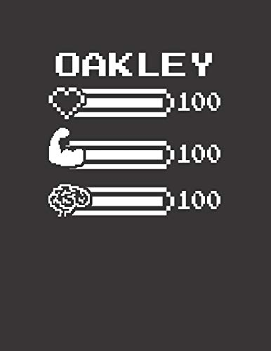 OAKLEY: Pixel Retro Game 8 Bit Design Blank Composition Notebook College Ruled, Name Personalized for Girls & Women. Gaming Desk Stuff for Gamer ... Gift. Birthday & Christmas Gift for Women.
