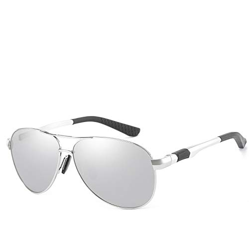 Gafas de Sol,Gafas de sol polarizadas de aluminio y magnesio para hombre, gafas de pesca con espejo de sapo, gafas de sol para conducir, marco plateado, mercurio blanco # 5