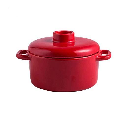 CYQ Olla de Cocina Healthy Cookware Mini Olla de Sopa roja, Resistente a Altas temperaturas, Mango de Doble Oreja, cómodo de sostener, Apto para lavavajillas, Apto para Horno y microondas