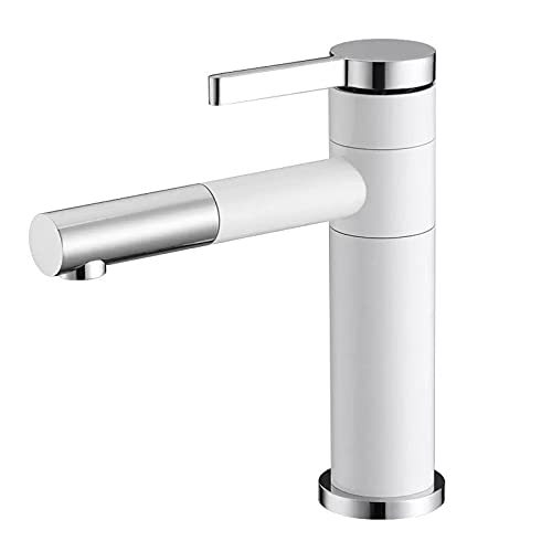 TTYUNDING Basin Faucet, All Copper Hot and Cold Pull-Out Basin Faucet Bathroom Cabinet White Paint Rotary Faucet