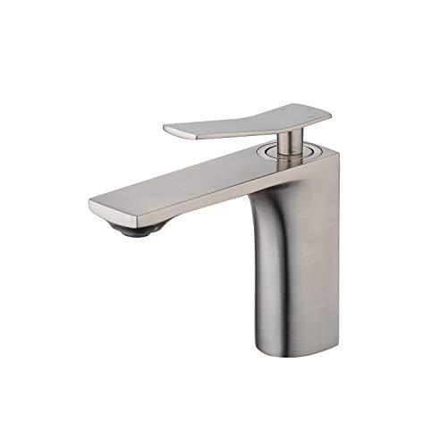 Grifo de lavabo de baño de níquel cepillado mezclador caliente y frío para lavabo y baño lavabo latón macizo grifo Gudetap GT8290N