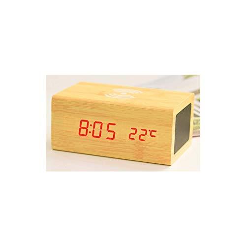 TIANYOU Altavoz Creativo Bluetooth de Madera Control de Sonido Alarma Teléfono Móvil Led Led Luminoso Mute Multifuncion Wireless Calidad de Sonido Vida de batería larga/Amarillo