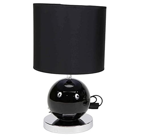 LÁMPARA DE MESA BASE DE CERÁMICA COLOR NEGRO de diseño moderno color plateado o negro | pantalla color negro | Casquillo E27 (Bombilla no incluida) Perfecta para el salón, dormitorio o recibidor
